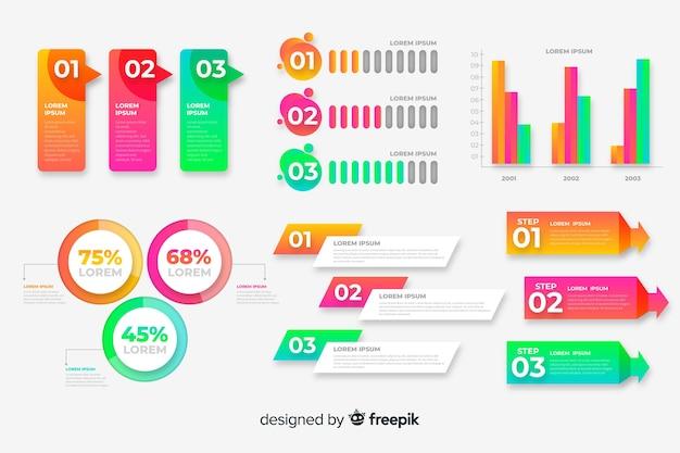 Conjunto de elementos infográficos coloridos