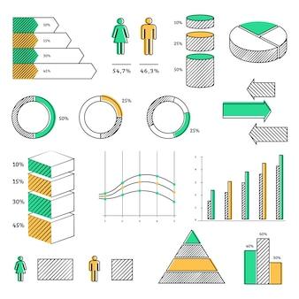 Conjunto de elementos infográficos dibujados a mano