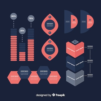 Conjunto de elementos infográficos de diseño plano.
