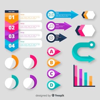 Conjunto de elementos infográficos de diseño plano
