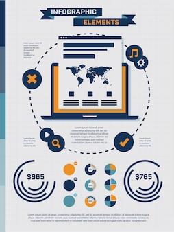 Conjunto de elementos infográficos vintage