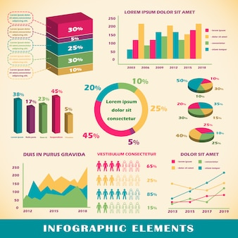 Conjunto de elementos infográficos.