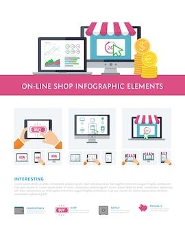 Conjunto de elementos inforáficos comerciales en línea, banca móvil, compras en línea.