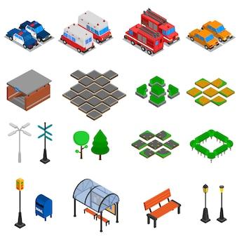 Conjunto de elementos de infraestructura de la ciudad