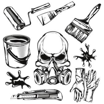 Conjunto de elementos de las instalaciones del pintor.