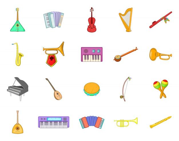 Conjunto de elementos de instrumentos musicales. conjunto de dibujos animados de elementos de vector de instrumento musical