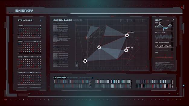 Conjunto de elementos de la interfaz de usuario moderna de ciencia ficción hud abstracto futurista bueno para la interfaz de usuario del juego