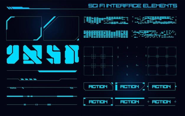 Conjunto de elementos de la interfaz de usuario moderna de ciencia ficción hud abstracto futurista