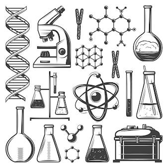 Conjunto de elementos de investigación de laboratorio vintage con matraces tubos microscopio adn estructura molecular células kit de instrumentos aislados