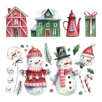 Conjunto de elementos de invierno y muñeco de nieve de acuarela