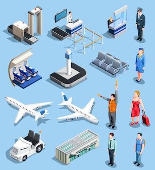 Conjunto de elementos isométricos de aeropuerto