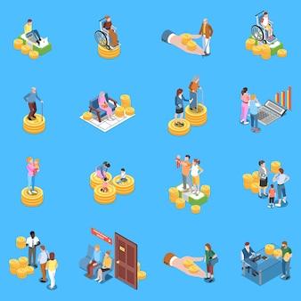 Conjunto de elementos isométricos de beneficios de seguridad social
