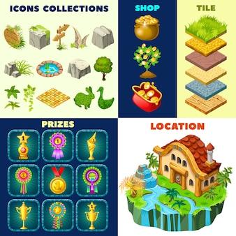 Conjunto de elementos isométricos de cabaña y juego.
