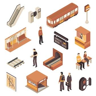 Conjunto de elementos isométricos de la estación de metro de metro