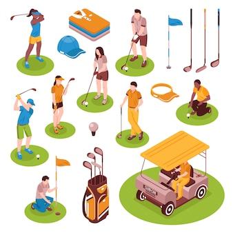 Conjunto de elementos isométricos de golf