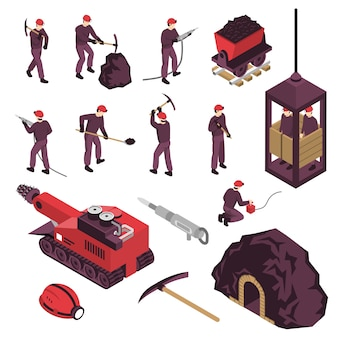 Conjunto de elementos isométricos de la industria minera