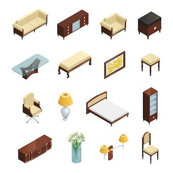 Conjunto de elementos isométricos interiores de lujo para dormitorio, sala de estar y estudio con muebles y decoración.