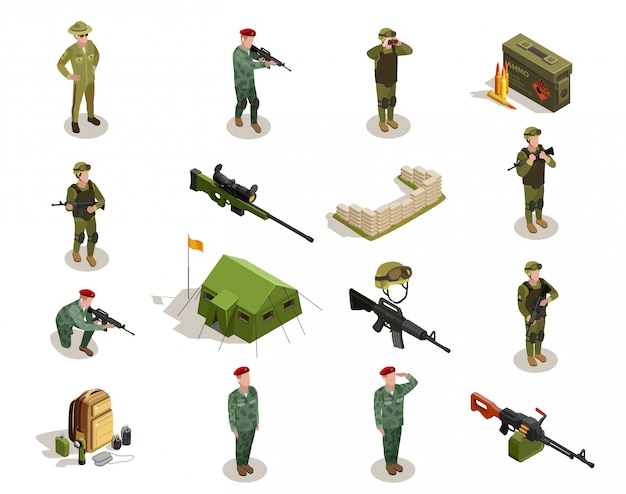 Conjunto de elementos isométricos militares del ejército
