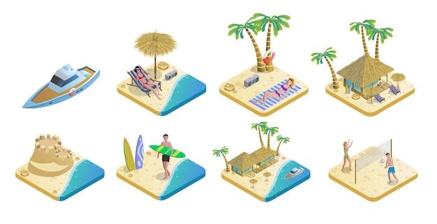 Conjunto de elementos isométricos de playa de verano