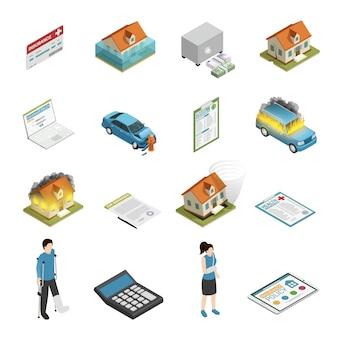 Conjunto de elementos isométricos de póliza de seguro