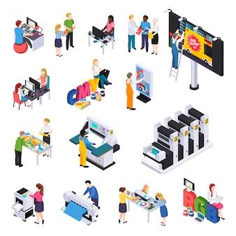 Conjunto de elementos isométricos de producción de agencias de publicidad con presentaciones de diseñadores de anuncios, impresión, instalación de corte en cartelera