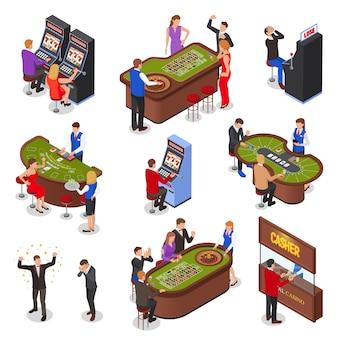 Conjunto de elementos isométricos de sala de juego de casino con máquinas tragamonedas, ruleta, juegos de cartas de gato negro, ilustración aislada