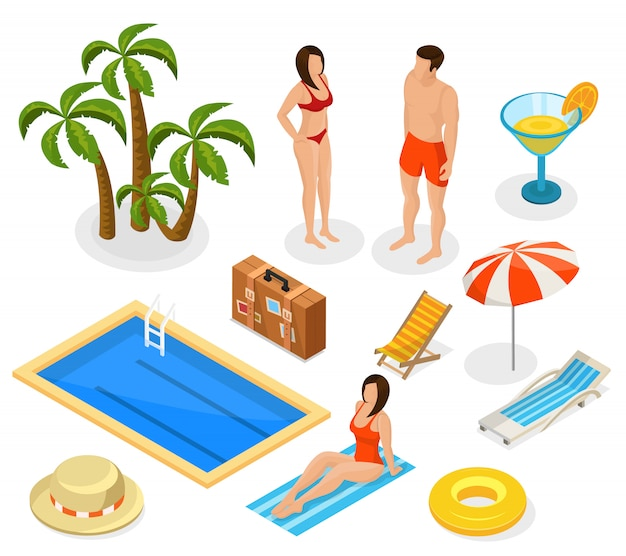 Conjunto de elementos isométricos de vacaciones de verano