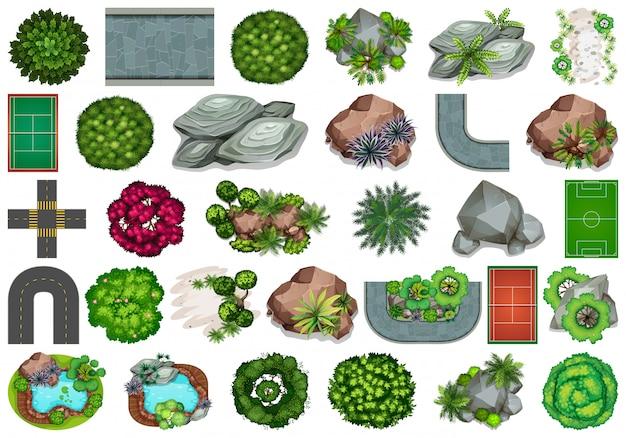 Conjunto de elementos de jardín.