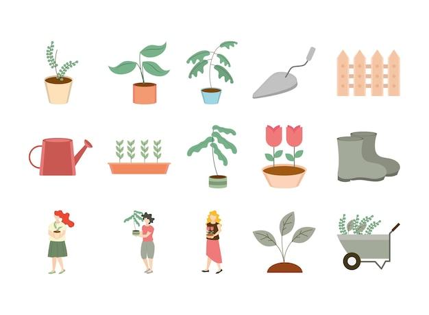 Conjunto de elementos de jardinería