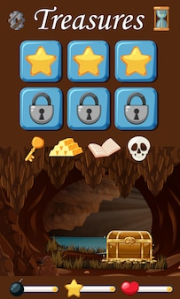 Conjunto de elementos del juego del tesoro