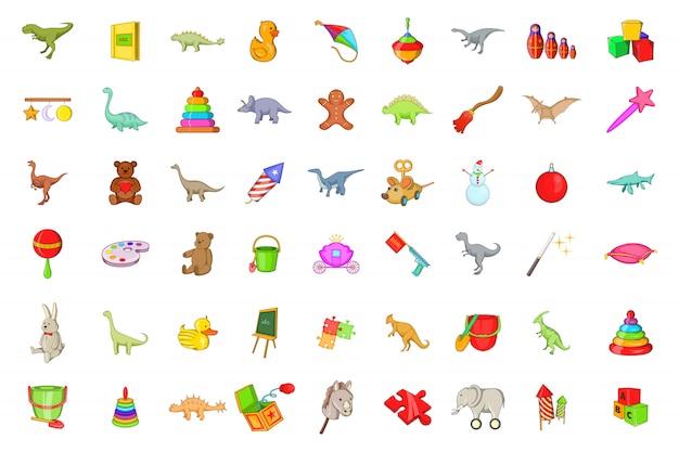 Conjunto de elementos de juguetes. conjunto de dibujos animados de elementos vectoriales de juguetes