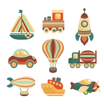 Conjunto de elementos de juguetes de transporte.