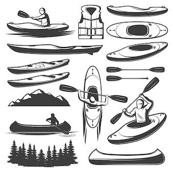 Conjunto de elementos de kayak vintage