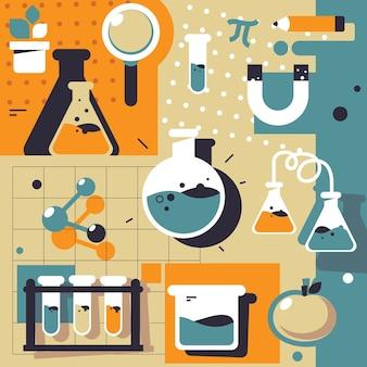 Conjunto de elementos de laboratorio de ciencias