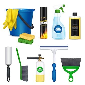 Conjunto de elementos de lavado de autos