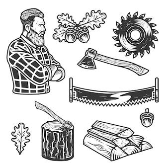 Conjunto de elementos de leñador.