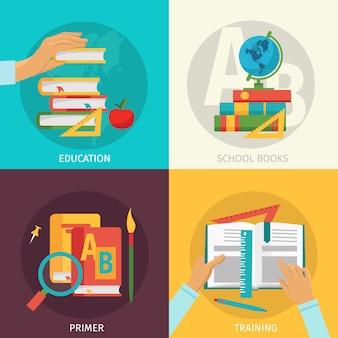 Conjunto de elementos de libros escolares de colores