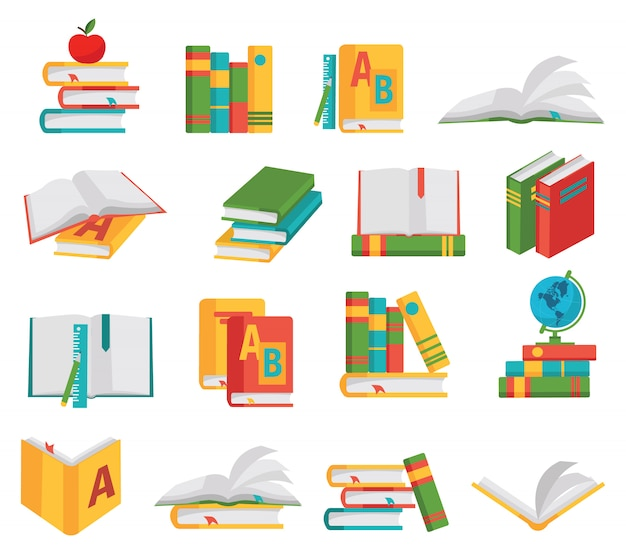 Conjunto de elementos de libros escolares
