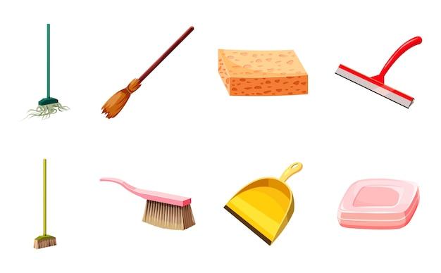 Conjunto de elementos de limpieza de herramientas. conjunto de dibujos animados de herramientas de limpieza