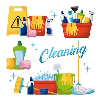 Conjunto de elementos de limpieza