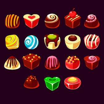 Conjunto de elementos lindos juegos dulces
