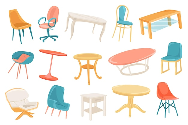 Conjunto de elementos lindos muebles
