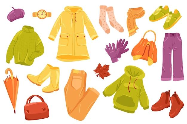 Conjunto de elementos lindos de ropa de otoño