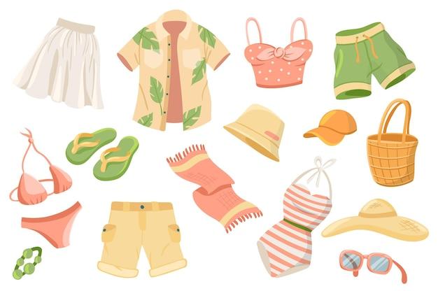 Conjunto de elementos lindos de ropa de verano