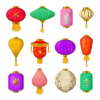 Conjunto de elementos de linternas de papel chino, estilo de dibujos animados