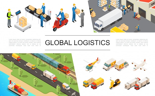 Conjunto de elementos de logística global isométrica con camiones helicópteros scooter de avión barco tren almacén almacenamiento trabajadores cargando y pesando procesos