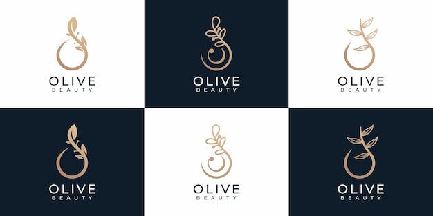 Conjunto de elementos de logotipo de belleza de oliva de naturaleza mínima de lujo para la marca