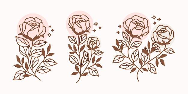 Conjunto de elementos de logotipo de flor color de rosa dibujado a mano