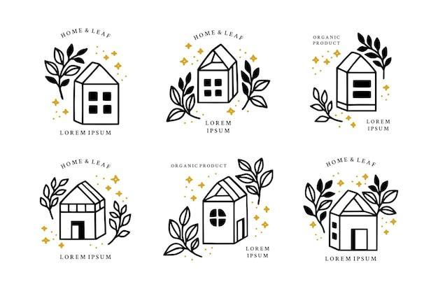 Conjunto de elementos de logotipo floral de rama de hoja botánica y hogar vintage dibujado a mano