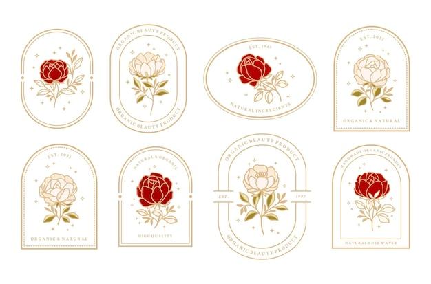 Conjunto de elementos de logotipo floral vintage de belleza femenina rosa y peonía con marco para mujeres